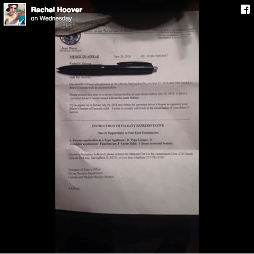 The Secretary of State's office sent Pastafarian Rachel Hoover a letter stating that she must retake her state ID photo without wearing a pasta strainer. | Facebook/Rachel Hoover