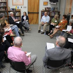 """Participants at Temple Emanuel's conference, """"The Next Stage: Looking Backwards and Ahead,"""" on Nov. 9, 2014, discuss life after retirement."""