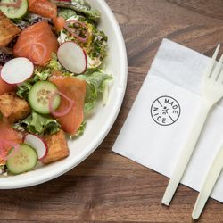 A frisee salad with smoked salmon