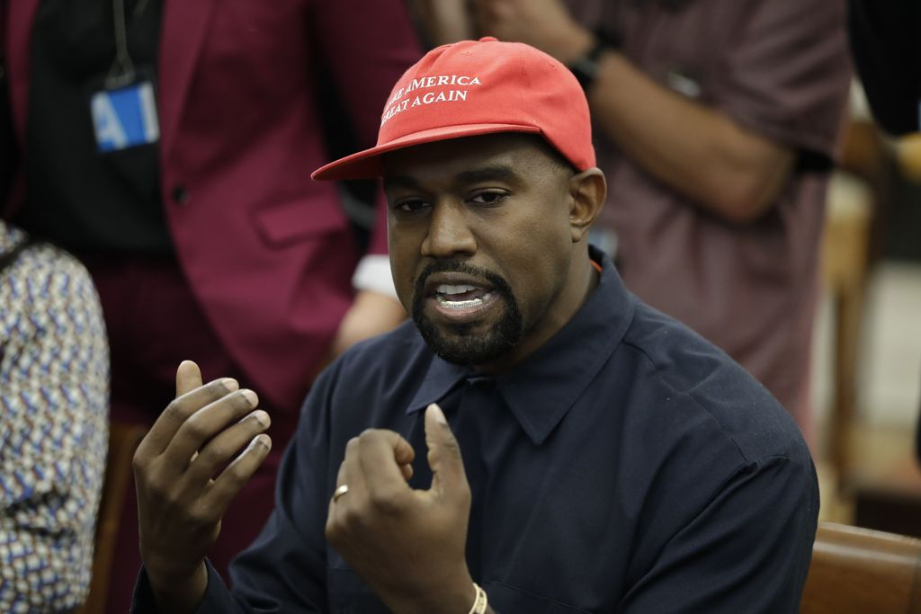 Rapper Kanye West speaks to President Donald Trump and others in the Oval Office of the White House, Thursday, Oct. 11, 2018, in Washington. | AP Photo