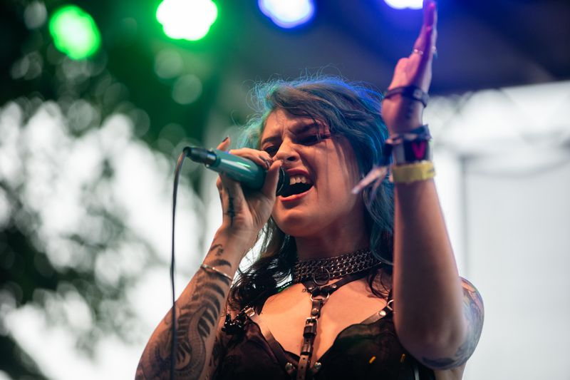 Mothica performs her set at the BMI Stage at Lollapalooza on Friday.
