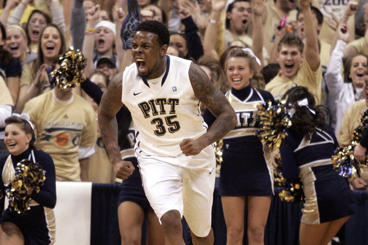Nasir Robinson is pumped that Pitt is still No. 1 in the SB Nation Power Rankings...either that, or he doesn't care at all - one or the other.  (Photo by Justin K. Aller/Getty Images)