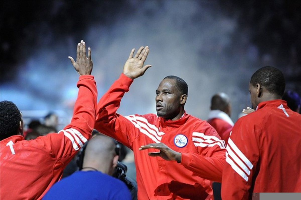 Mar 02, 2012; Philadelphia, PA, USA; Philadelphia 76ers forward Elton Brand (42) is introduced prior to playing the Golden State Warriors at the Wells Fargo Center. The Sixers defeated the Warriors 105-83. Mandatory Credit: Howard Smith-US PRESSWIRE