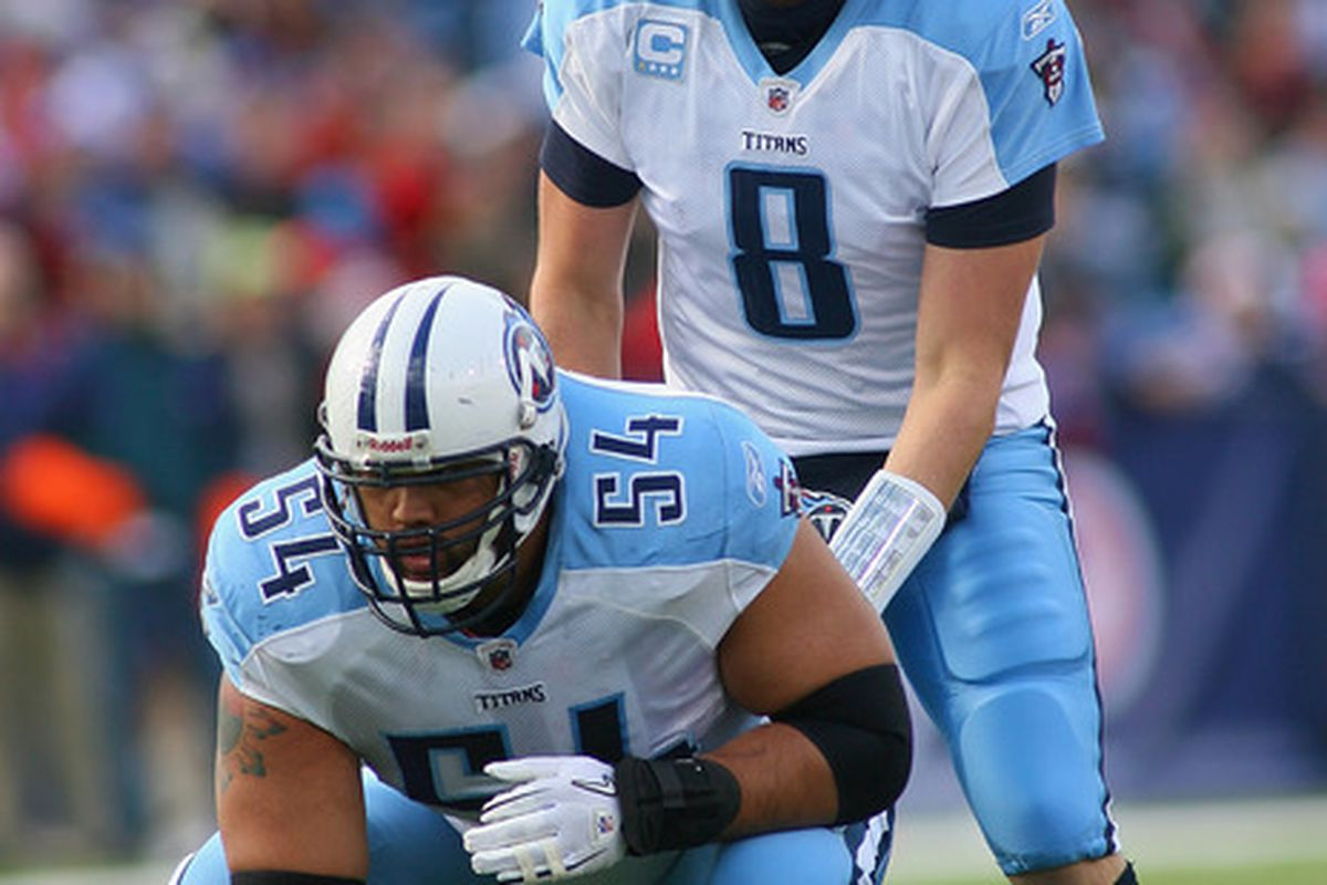 ORCHARD PARK, NY - DECEMBER 04:  Matt Hasselbeck #8 of the Tennessee Titans takes a snap behind  Eugene Amano #54 of the Tennessee Titans at Ralph Wilson Stadium on December 4, 2011 in Orchard Park, New York.  (Photo by Rick Stewart/Getty Images)