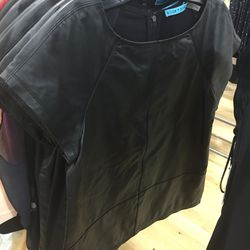 Leather top with sheer back, $199 (was $495)