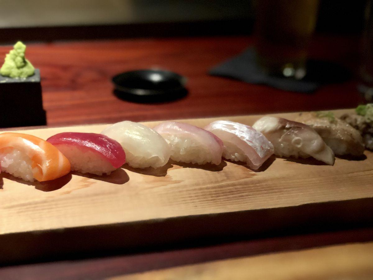 Assortment of sushi at Tetsu