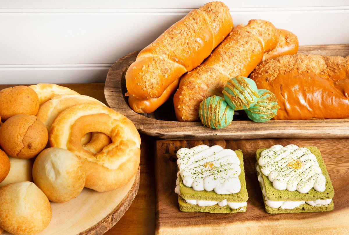 An array of breads and pastries