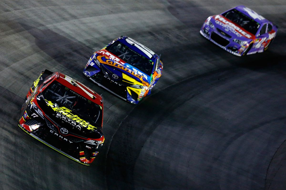 furniture row racing. furniture row racing\u0027s erik jones leads a pack of cars during the bass pro shops nra night race at bristol motor speedway on august 19, 2017. racing d