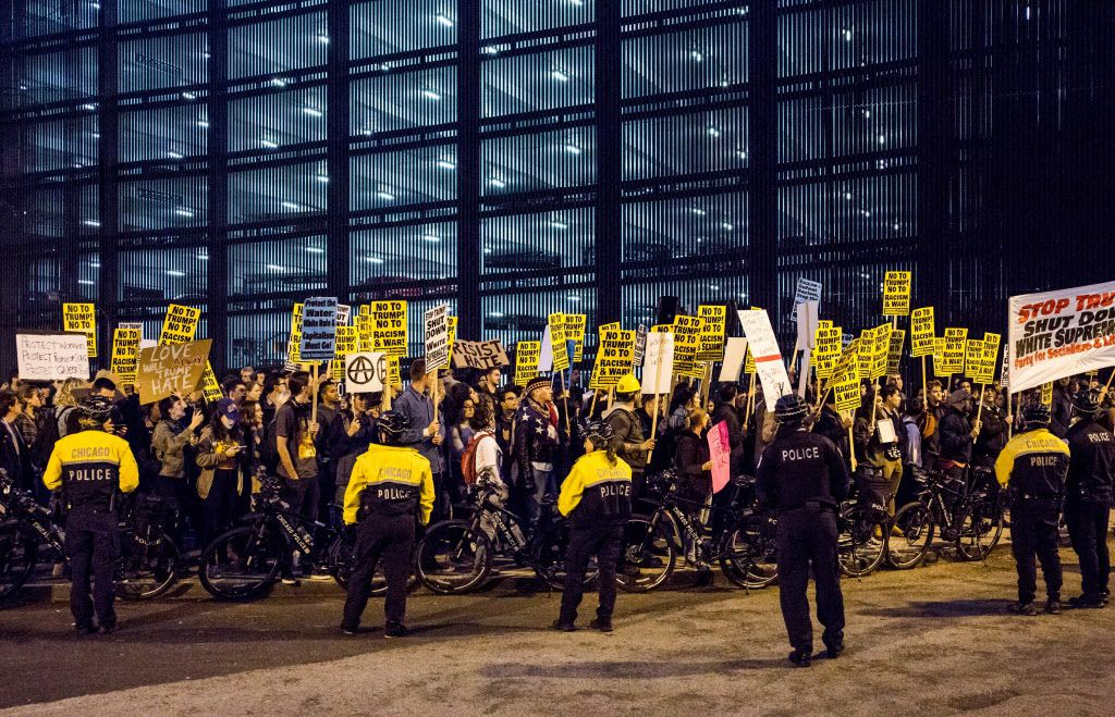 Protesters outside Trump Tower on Wednesday evening in Chicago. | Santiago Covarrubias/Sun-Times