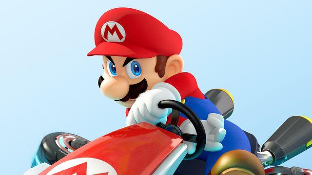 Mario and his kart from <em>Mario Kart 8</em>.