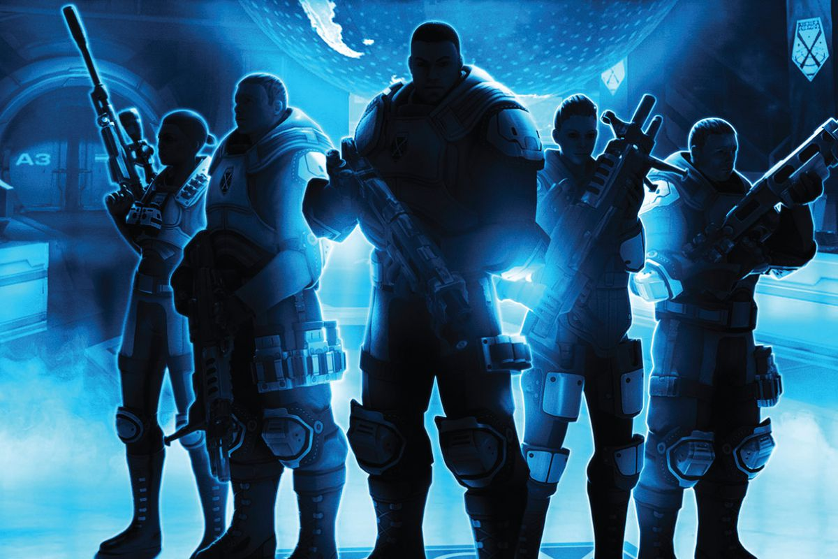 Cover art for XCOM: Enemy Unknown shows the now iconic classes — Sniper, Assault, Heavy,  Support — in silhouette. against a blue background.