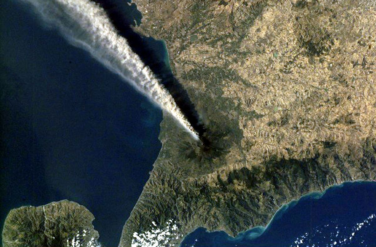 A satellite view of Mount Etna erupting in Italy in 2001.
