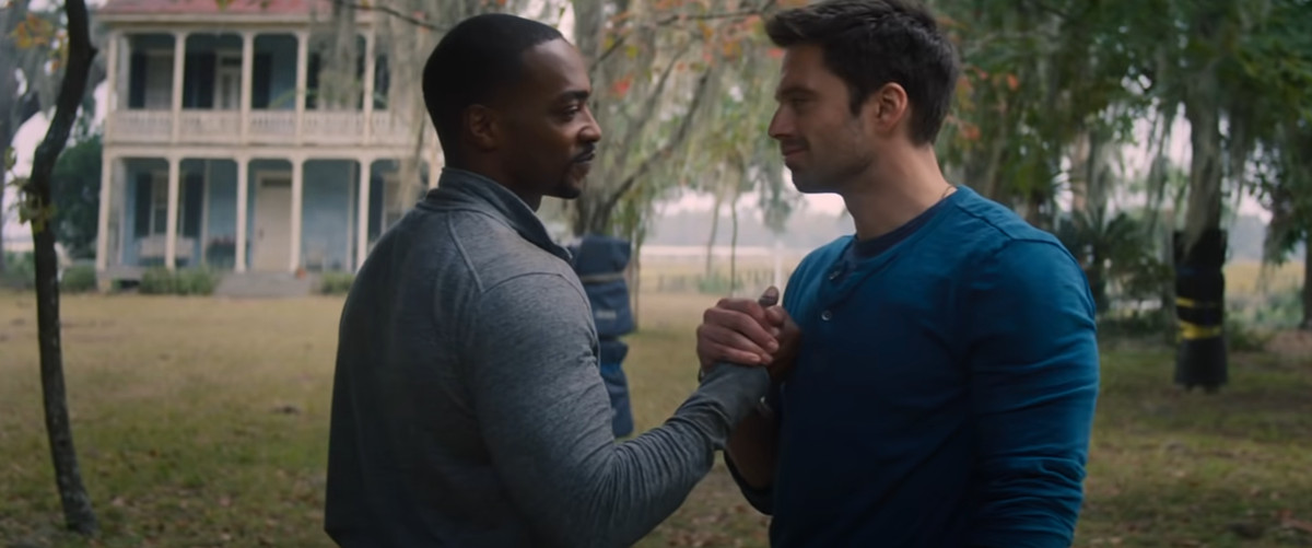 Anthony Mackie and Sebastian Stan holding hands in Falcon and Winter Soldier