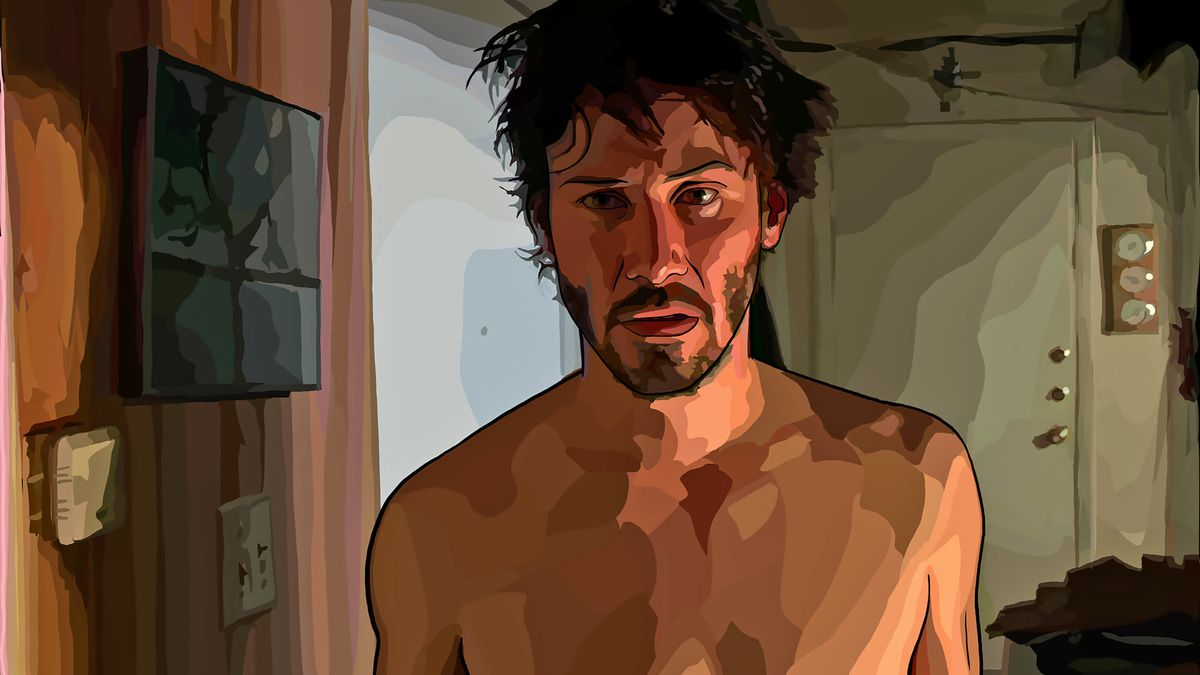 keanu reeves as rendered in rotoscope animation