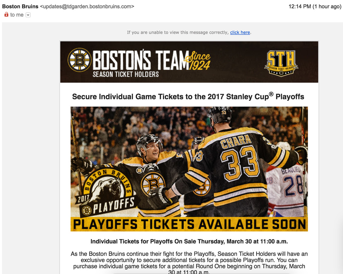 Bruins offering Playoff Tickets tomorrow - Stanley Cup of Chowder
