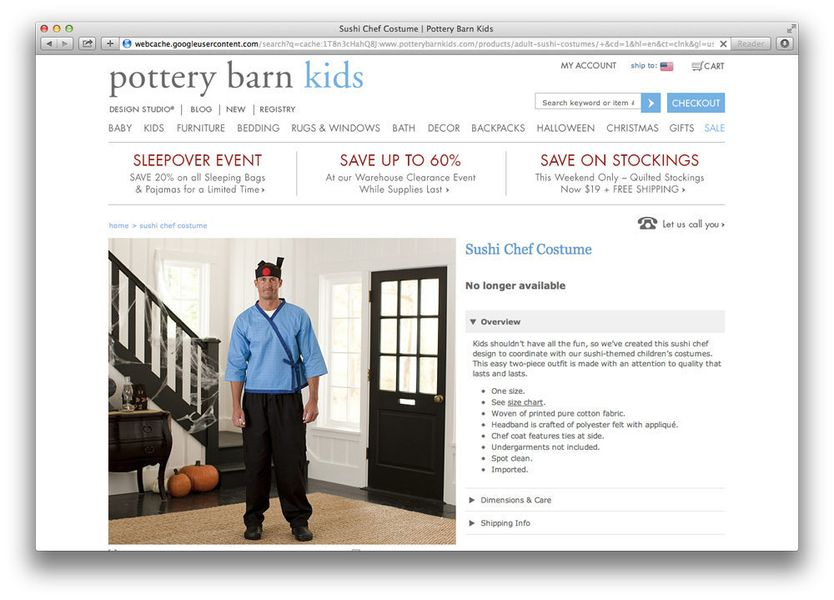Pottery Barn Pulls Offensive Sushi Chef Costumes Eater