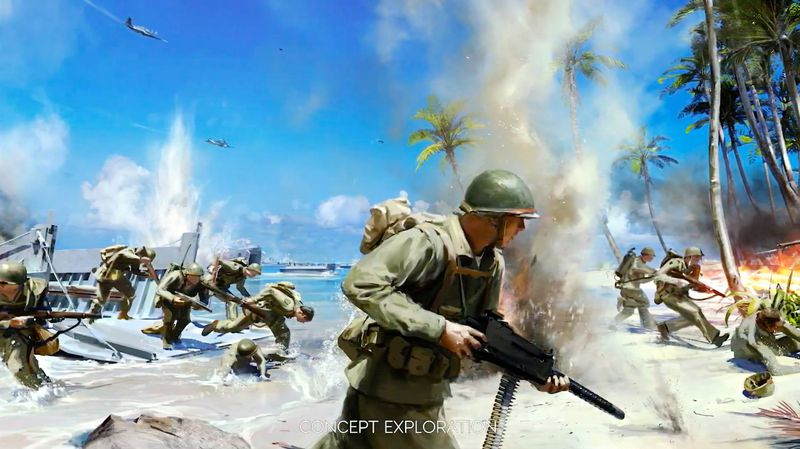 Battlefield 5 - concept art of soldiers coming ashore in the Pacific