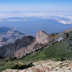 Willard Bay is visible from Willard Peak, about a mile to the southeast of Inspiration Point. It's the tallest point in Box Elder County at 9,764 feet. A variety of mountain goat paths lead to the craggy summit, and a little scrambling is required.