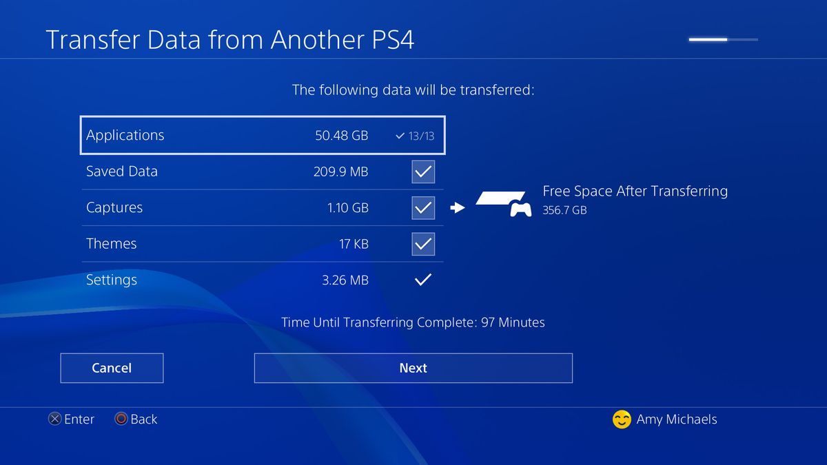 PS4 Pro data transfer checkboxes