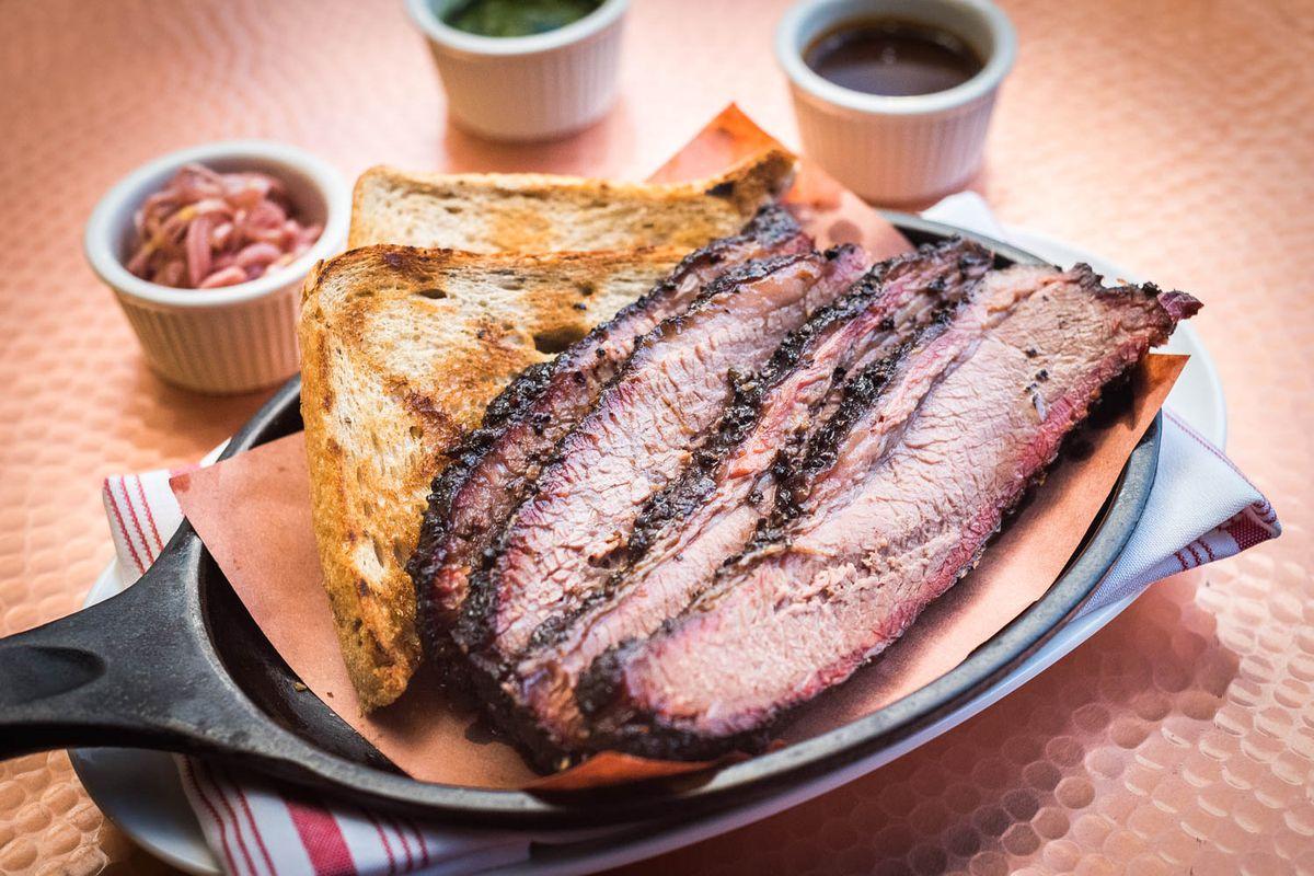 Barbecue brisket at America Eats Tavern.