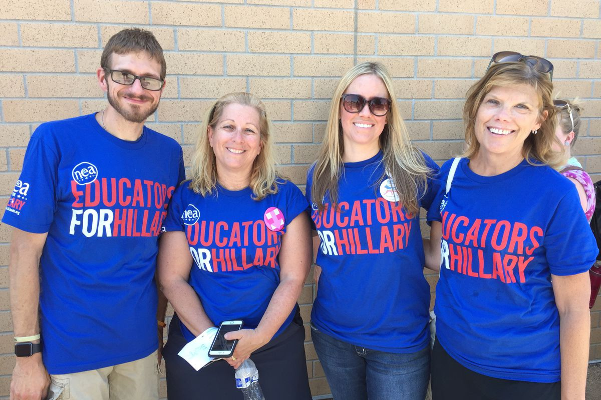 Teachers from a variety of Adams 12 Five Star Schools attended a political rally for Democratic presidential nominee Hillary Clinton.