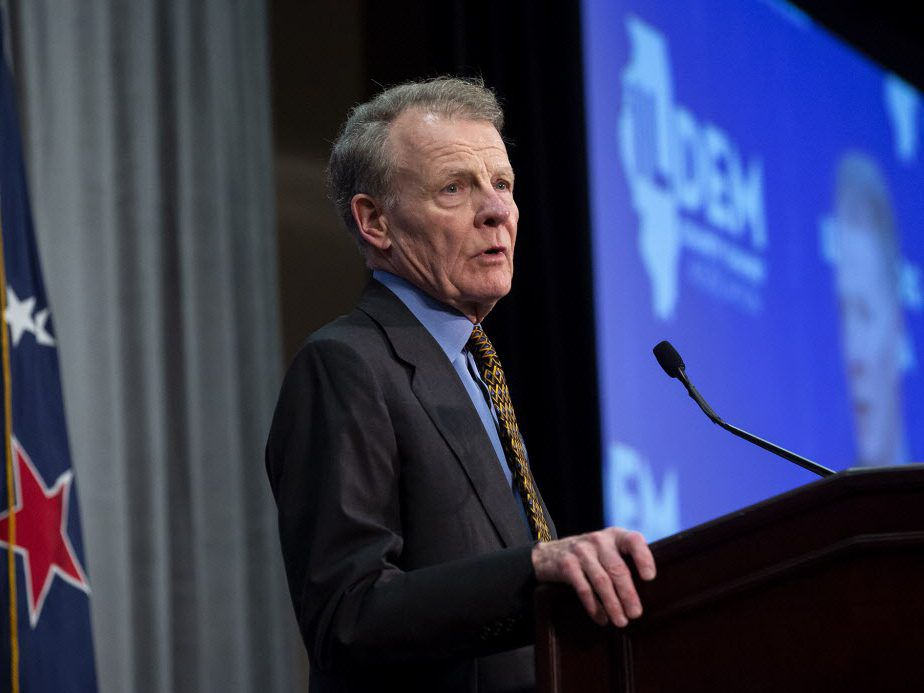 House Speaker Michael Madigan addresses the Illinois Democratic County Chairs' Association brunch at the Crowne Plaza Thursday prior to Democrat Day at the Illinois State Fair. (Rich Saal/The State Journal-Register via AP)