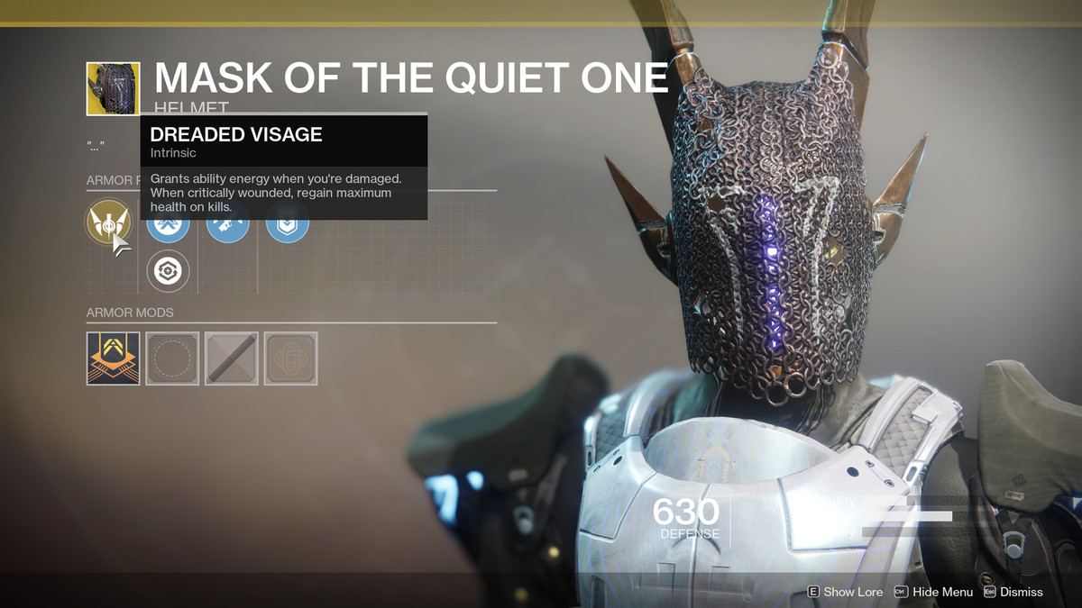Mask of the Quiet One Exotic Destiny 2