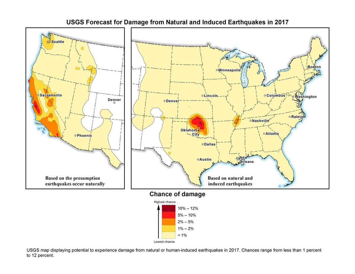 We know where the next big earthquakes will happen but not when vox us geological survey map of natural and induced earthquake risk in 2017 usgs gumiabroncs Images