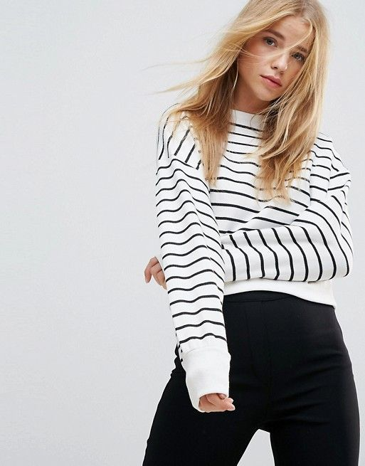 New Look Stripe Crop Sweater