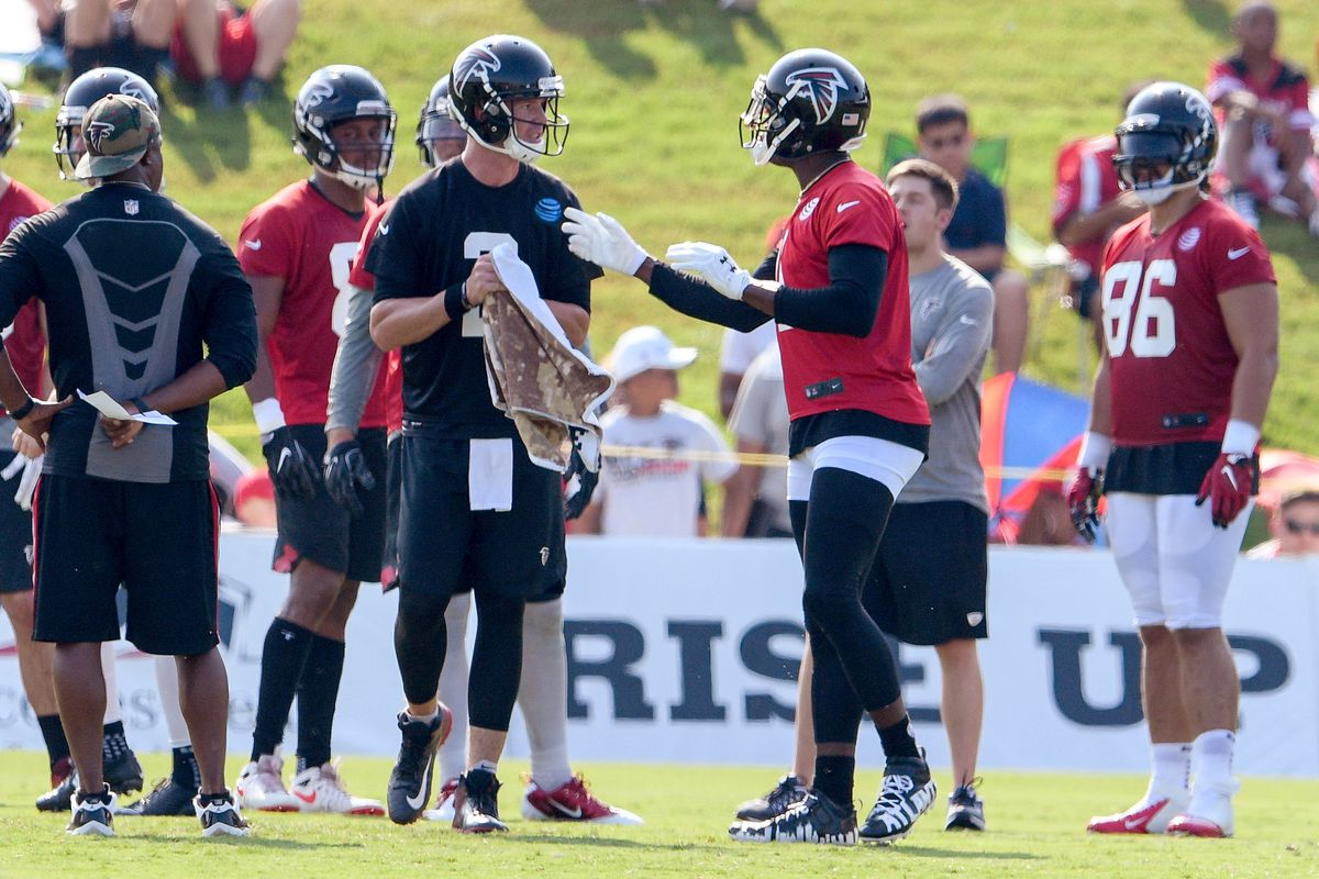 Falcons players at training camp