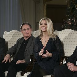 Ron Jarrett, left, president of theTabernacle Choir at Temple Square, actor Richard Thomas, Kelli O'Hara, acclaimed singer and actress, and Mack Wilberg, music director of the Tabernacle Choir, talk about the 2019 Christmas with The Tabernacle Choir concert in Salt Lake City on Thursday, Dec. 12, 2019. The Tabernacle Choir at Temple Square, Orchestra at Temple Square and Bells on Temple Square will perform their annual Christmas concerts in the Conference Center on Temple Square in Salt Lake City on Thursday, Friday, and Saturday, Dec. 12–14, 2019, at 8:00 p.m.