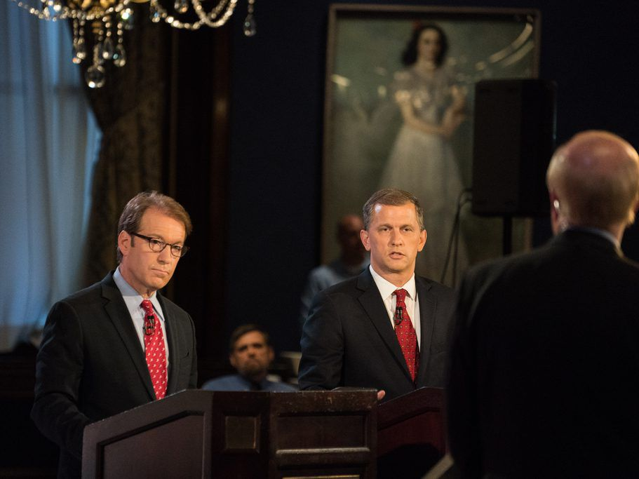 Sean Casten, right, debates Illinois 6th District Rep. Peter Roskam at Union League Club of Chicago on July 26, 2018. | Max Herman/For the Sun-Times