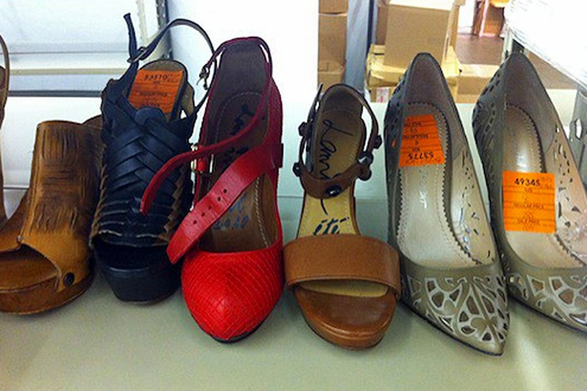 """The shoe selection at <a href=""""http://ny.racked.com/archives/2011/08/24/first_look_barneys_lots_of_shoes_and_one_lone_lanvin_purse.php#above-the-fray-barneys-shoes-3"""">last fall's sale</a>"""