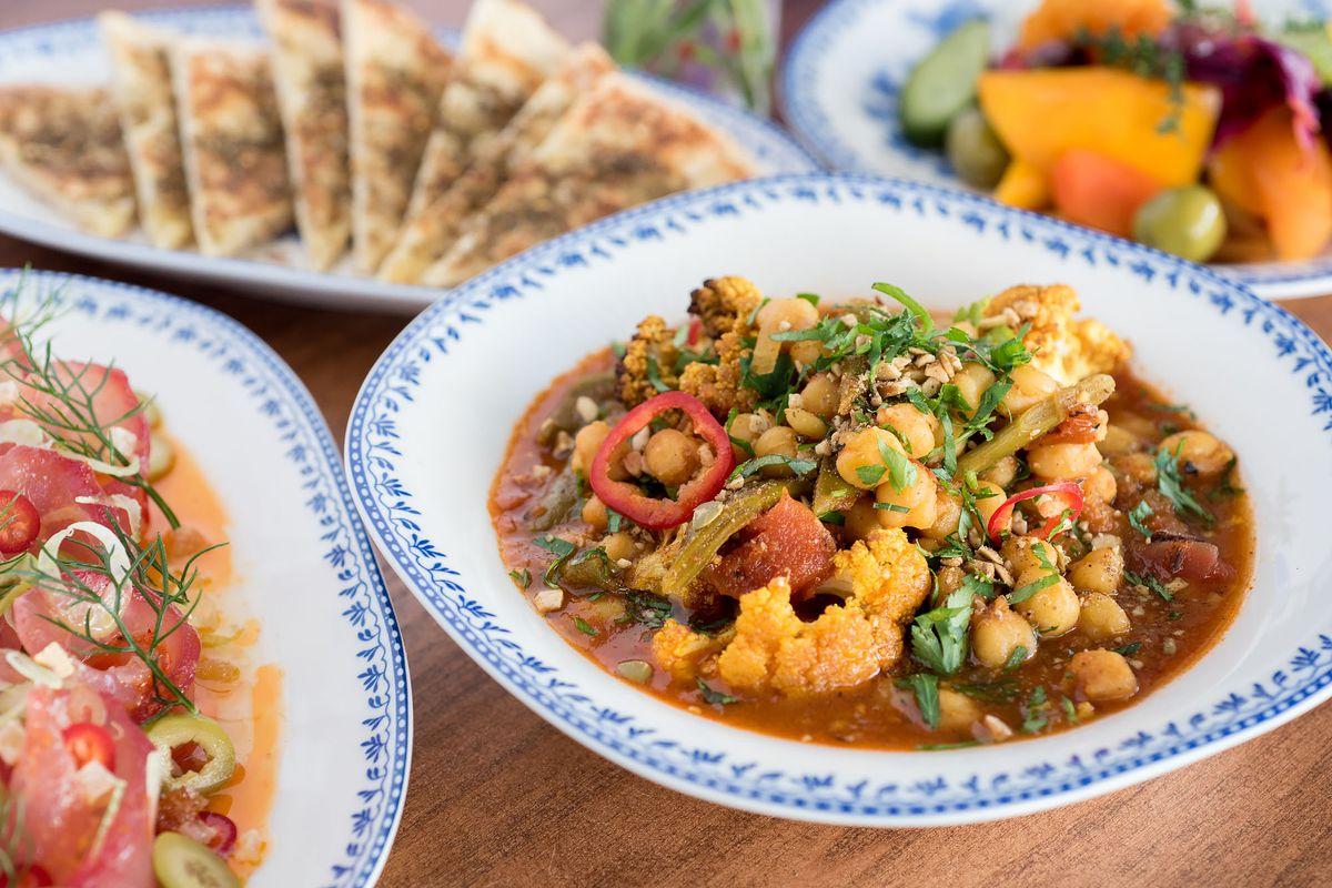 A spread of colorful Israeli food from Jaffa.