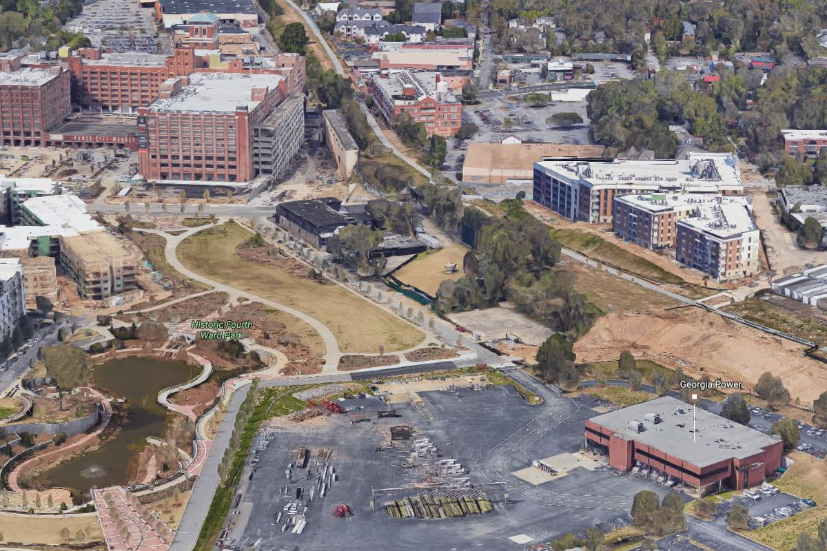 Google maps 3D view of the area, which is dominated by a parking lot.