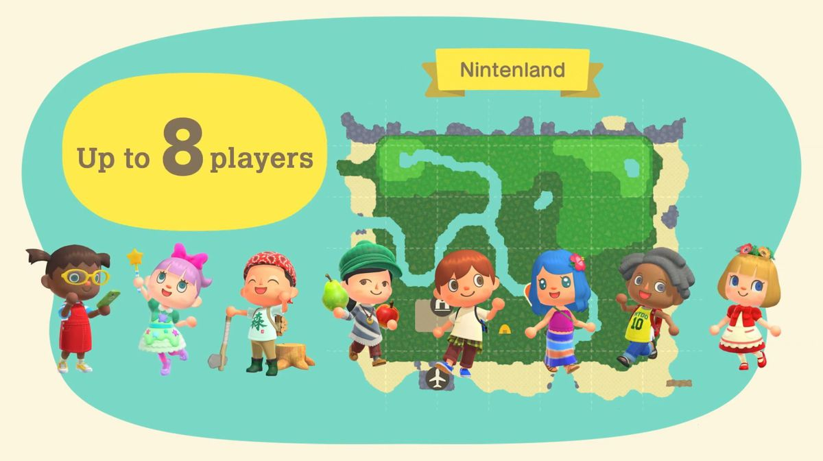 "Eight Animal Crossing: New Horizons player characters, known as residents, in front of a map of Nintenland. A bubble says ""Up to 8 players."""