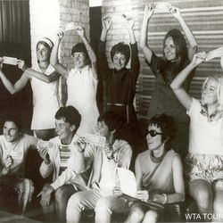 This photo released by the Women's Tennis Association shows the original photo taken nearly 40 years ago of the original nine women tennis players.  Top row from left to right: Valerie Ziegenfuss, Billie Jean King, Nancy Richey, Peaches Bartkowicz, Kristy Pigeon. Bottom row from left to right: Judy Tegart Dalton, Kerry Melville Reid, Rosie Casals, Gladys Heldman. (Photo Provided by Women's Tennis Association)