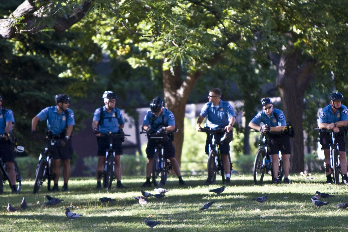 Minneapolis police officers riding bicycles