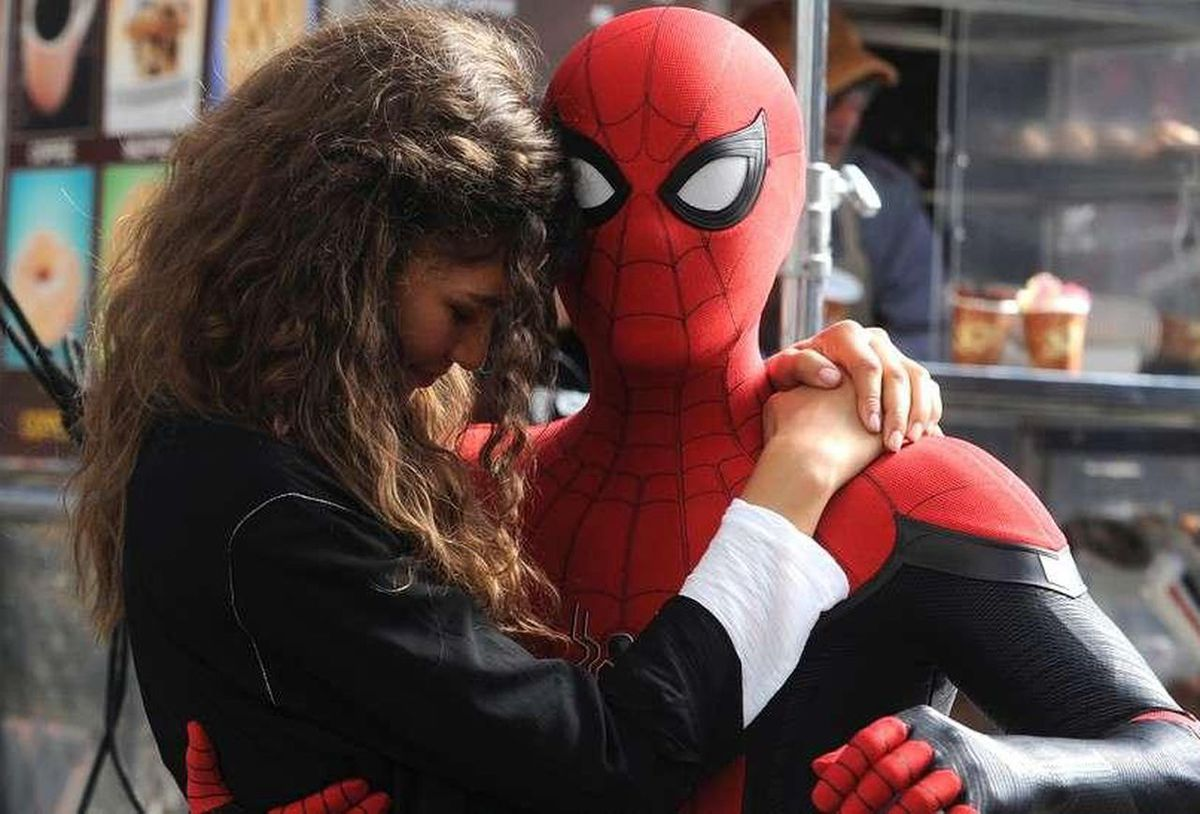 Zendaya and Tom Holland as MJ and Spider-Man in Spider-Man: Far From Home.
