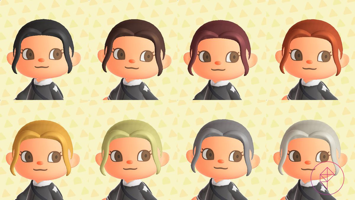 An Animal Crossing showcases eight natural hair colors, ranging from black to white