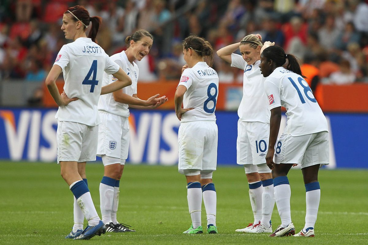 LEVERKUSEN, GERMANY - JULY 09: England Ladies - including Evertonians Fara Williams and Jill Scott - prepare for their penalty shoot-out against France.