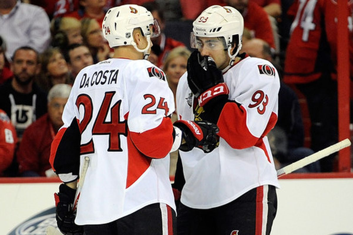 """Zibanejad tries not to giggle as he tells Da Costa """"the whole thing sucks."""""""