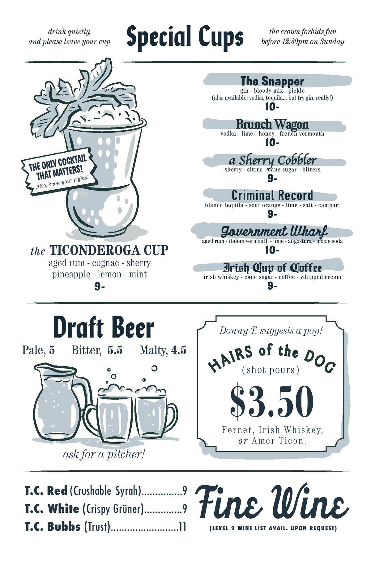 Ticonderoga Club brunch menu 2