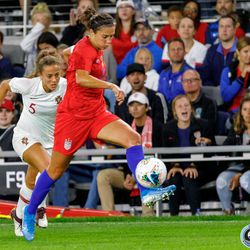 September 3, 2019 - Saint Paul, Minnesota, United States - USA forward Carli Lloyd (10) controls the ball during the USA World Cup Victory Tour match against Portugal at Allianz Field.