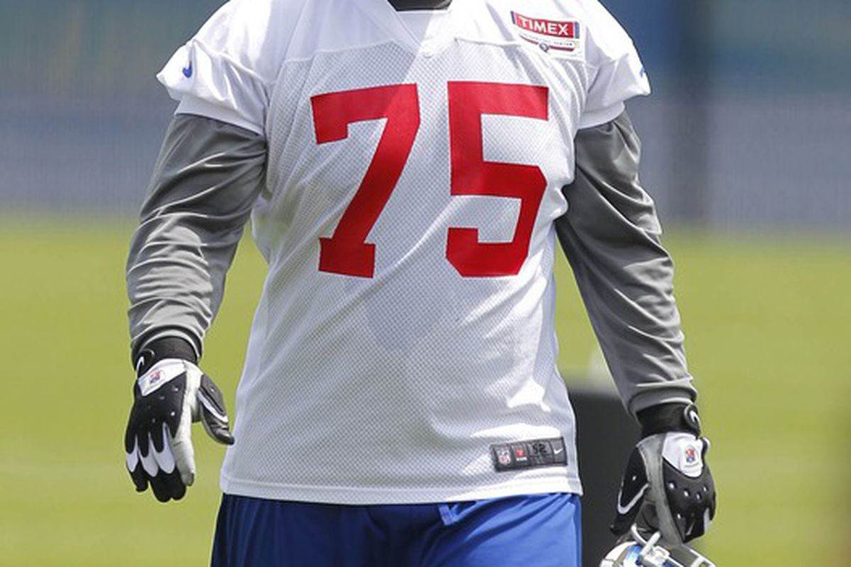 May 23, 2012; East Rutherford, NJ, USA;  New York Giants tackle Sean Locklear (75) during the Giants OTA at the their training facility. Jim O'Connor-US PRESSWIRE