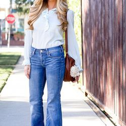 """<a href=""""http://la.racked.com/archives/2011/05/10/rebecca_at_cole_and_fountain.php"""" rel=""""nofollow"""">Rebecca</a>'s blouse is vintage (from her mother), her jeans are from H&M, the shoes are from Zara, the bag is vintage, and her favorite accessory -- he"""