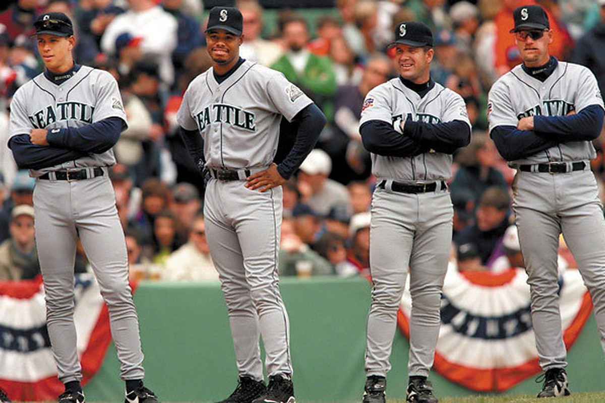 22ebd3da0a Alex Rodriguez, Ken Griffey Jr., Edgar Martinez, and Jay Buhner. The best  2-5 hitters in Mariners history.
