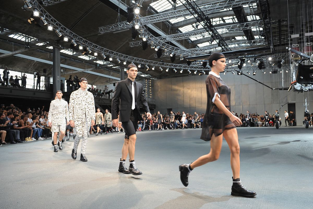 Models walk in a Givenchy fashion show in Paris
