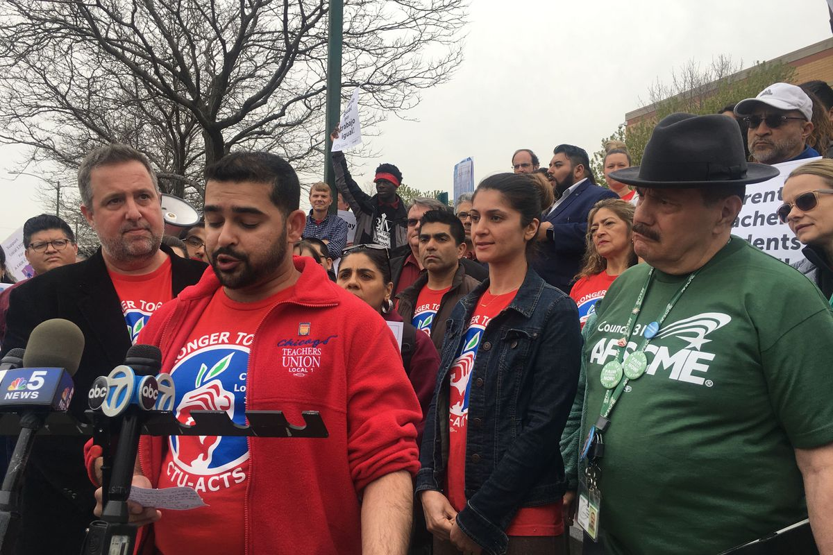 Chicago charter teacher Mihir Garud speaks at a press conference April 25, 2019, announcing a May 1 strike date if negotiations remain stalled.