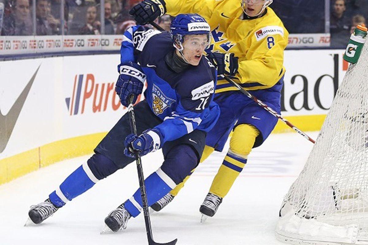 Mikko Rantanen skates for Finland during the World Junior Championships